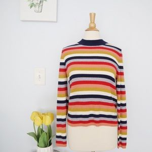 Madewell 70's Retro Striped Pullover Sweater Sz L